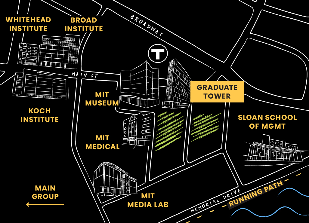 An illustrated map of Kendall Square and the surrounding area higlighting MIT buildings and points of interest