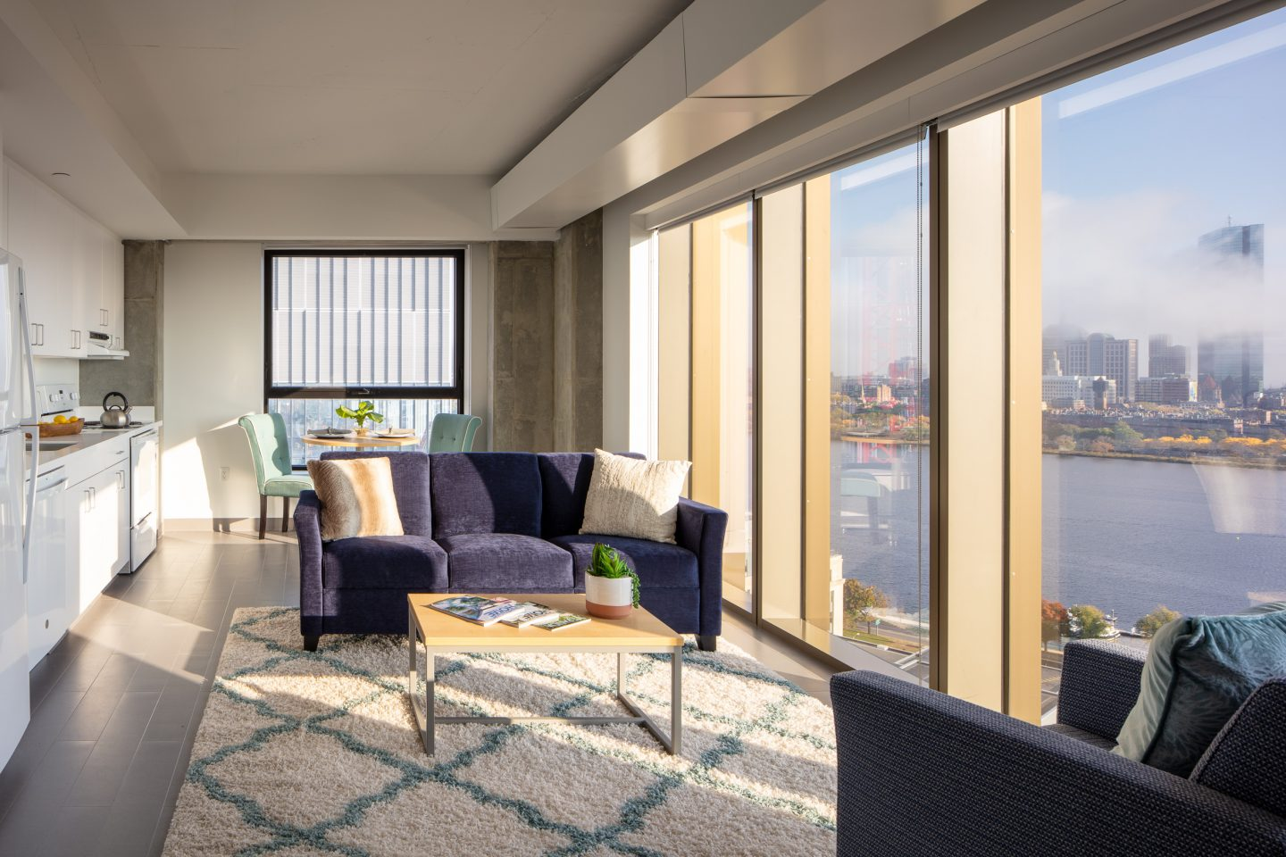A view of a one-bedroom apartment within the Graduate Tower at Site 4